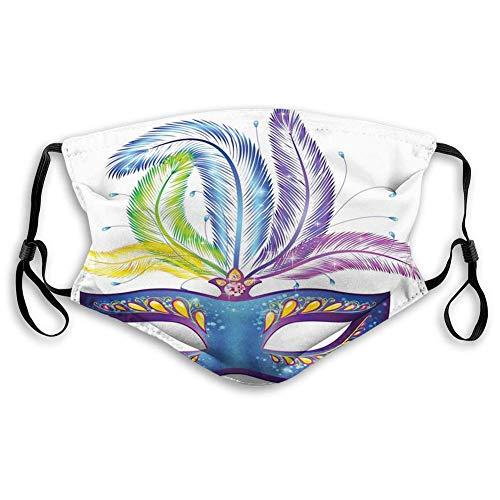 KENDIA Bequeme winddichte Maske, Karneval, blau verzierte venezianische Festivalmaske mit Federn Maskerade Parade Vorbereitungen, mehrfarbig
