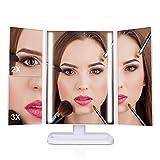 Miroir de maquillage de luxe avec triple lumières 24-LED écran tactile, grossissement 1x 2x et 3x, rotation à 180 degrés, câble USB ou batterie de type AA