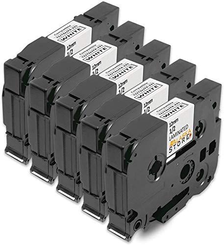 5X kompatible Schriftband als Ersatz für Brother TZe-231 12mm schwarz auf weiß 12mm breit x 8m Länge kompatibel zu TZ231 TZ-231 TZE231