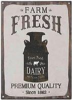 ファームフレッシュ乳製品ブリキサインヴィンテージノベルティ面白い鉄の絵の金属板