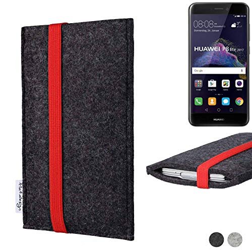 flat.design Handy Tasche Coimbra für Huawei P8 Lite 2017 Dual SIM passexakt Filz Schutz Hülle Hülle anthrazit rot fair