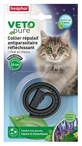 Beaphar – Vetopure, collare repellente antiparassitario riflettente – gatto e gatto – nero