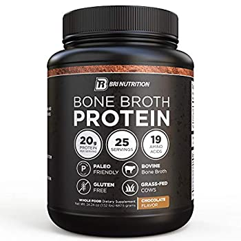 BRI Bone Broth Protein Powder Chocolate Flavor Whole Food Dietary Supplement from Grass fed Beef Great Natural Source of Collagen Peptides and Amino Acids  Gluten Free & Keto / Paleo Friendly