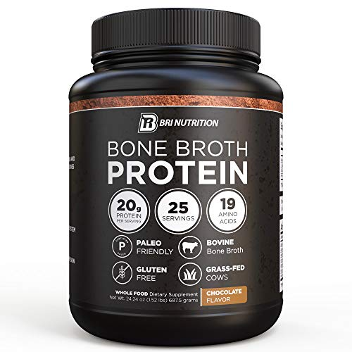 BRI Bone Broth Protein Powder Chocolate Flavor Whole Food Dietary Supplement from Grass fed Beef, Great Natural Source of Collagen, Peptides and Amino Acids; Gluten Free & Keto / Paleo Friendly