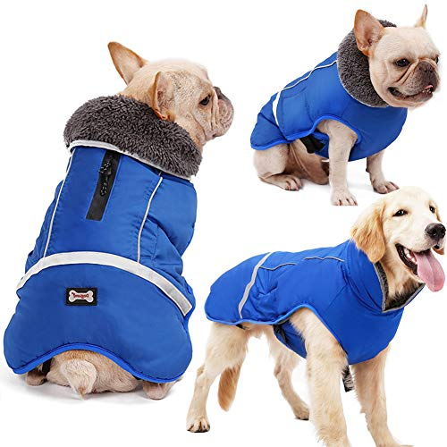 Warm Dog Coat Reflective Dog Winter Jacket,Waterproof Windproof Dog Turtleneck Clothes for Cold Weather, Thicken Fleece Lining Pet Outfit,Adjustable Pet Vest Apparel for Small Medium Large Dogs