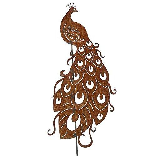 Wunderschöner & Hochwertiger Gartenstecker - Tier Figur – Rost Stecker/Tierfigur – Große Auswahl – Edelrost Gartenfigur – Metall Gartendeko (Pfau - Länge 150cm)