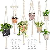6-Pack Macrame Plant Hanger - with 6 Ceiling Hooks - Hanging Planter Indoor Outdoor - Hanging Plant Holder - Decorative Bohemian Plant Hangers (Cream)