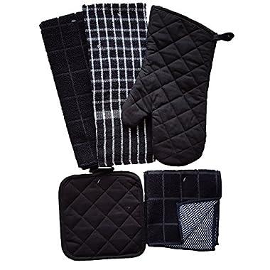 Kitchen Linen Set Black/White 7 Piece Bundle – 2 Dish Towels, 2 Dishcloths, 2 Potholders, and 1 Oven Mitt