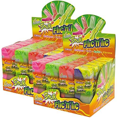 Flic'n'lic Lutscher Sour mit Erdbeer, Cola, Apfel 24 Stk. im Display (2er Pack)