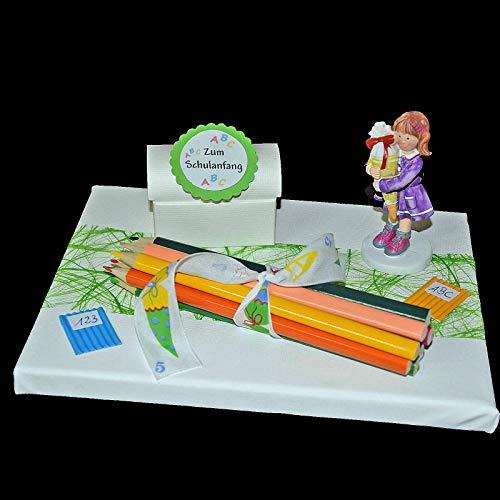 Geld Geschenk mit Buntstiften zum Schulanfang zur Einschulung Mädchen