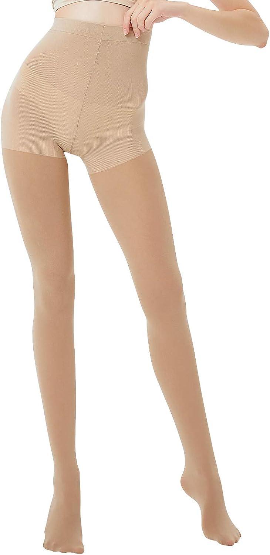 HeyUU Womens Control Top Footed Tights Soft Semi Opaque Pantyhose High Elastic