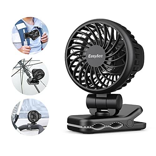 Mini Ventilator Clip,EasyAcc Tischventilator USB Tragbarer Aufladbarem Batterie Ventilator 3 Windgeschwindigkeiten,360° Drehung,8 Stunden Lüfter für Kinderwagen Sonnenschirm Rucksäcke Schule