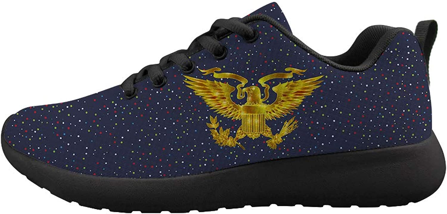 Owaheson Cushioning Sneaker Trail Running shoes Mens Womens Glowing gold Presidential Seal