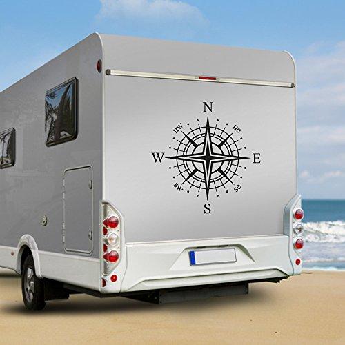 KINGZDESIGN® WA102 - Wohnmobil Aufkleber - Wohnwagen Aufkleber - Kompassrose