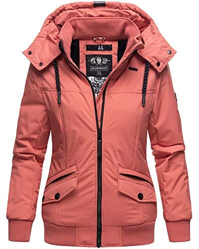 Marikoo Winter Jacke Damen Outdoor Winterjacke mit Kapuze XS - XXL SMKO (L, Coral)