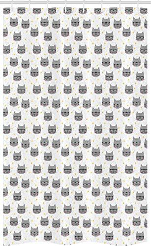 ABAKUHAUS Gato Cortina para baño, Gatitos Hipster Glasses, Tela con Estampa Digital Apta Lavadora Incluye Ganchos, 120 x 180 cm, Gris Blanco Amarillo
