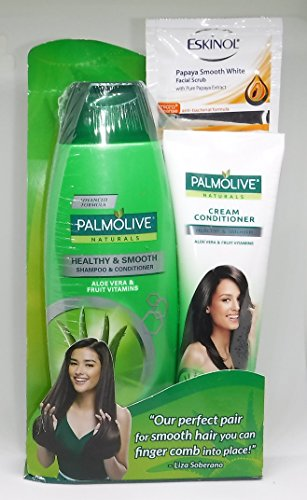 Palmolive Naturals Healthy & Smooth Shampoo & Cream Conditioner Set with Free Eskinol Papaya Facial Scrub
