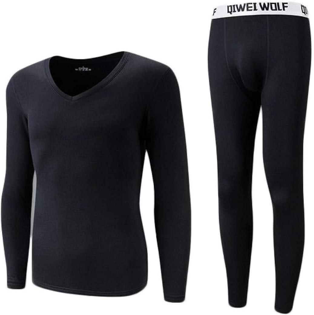 Mens Thermal Underwear Ultra Soft V-Neck Long John Set Winter Warm Base Layer Top and Bottom