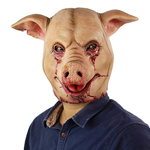 Gruselige Tier-Maske aus Latex, für Halloween, Cosplay, Requisiten, Rot, Größe Unisex-Erwachsene