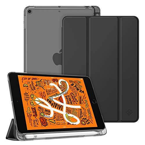 Fintie hoes met pennenhouder voor iPad Mini 5 2019, ultradun, superlicht, beschermhoes met transparante achterkant, met automatische slaap-waakfunctie voor 2019 iPad Mini (5e generatie). zwart