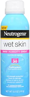 Neutrogena Wet Skin Sunscreen Spray Broad Spectrum SPF 30, Sweat and Water Resistant Sun Protection, 5 oz (Pack of 3)