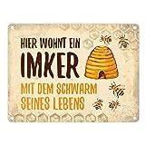 trendaffe - Imker mit Schwarm seines Lebens Blechschild in 15x20 cm - Metallschild Reklameschild...