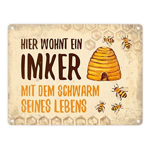 trendaffe - Imker mit Schwarm seines Lebens Blechschild in 15x20 cm - Metallschild Reklameschild Dekoschild