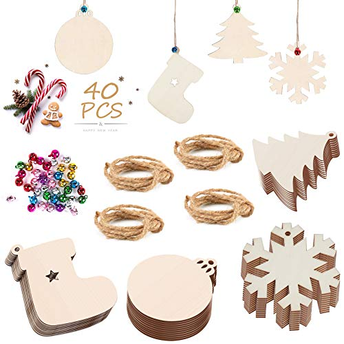 Unfinished Wooden Christmas Ornaments, 40 PCS Christmas Ornaments, Personalized Christmas Ornament, Christmas Decoration, DIY Craft Kit for Kids, Christmas Tree Decoration
