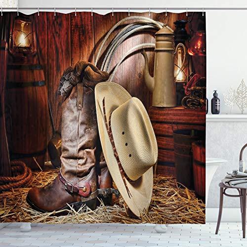ABAKUHAUS Western Duschvorhang, Amerika Retro Rodeo, mit 12 Ringe Set Wasserdicht Stielvoll Modern Farbfest & Schimmel Resistent, 175x180 cm, Beige Braun