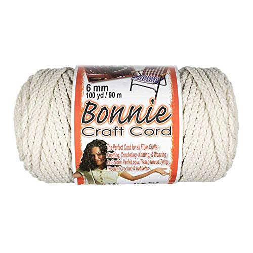 Craft County Bonnie Cord – 6mm Diameter – 100 Yards in Length (Lamb's Wool)