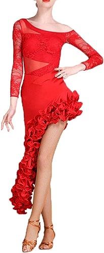 Robes de danse pour femmes Femmes Dentelle Drapé à Manches Longues De Danse Latine Tenue De Danse De Salon Robe Costume Ensemble de Perforhommece Professionnelle Jupe Compétition Robe Costume De Danse