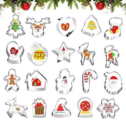 20 Stücke Weihnachten Edelstahl,Ausstecher Set für Keks,Ausstechformen Backen Fondant,Weihnachtsausstecher Backzubehör,Ausstecher Set ,keksausstecher ,Plätzchen Ausstecher,Plätzchenformen(D)