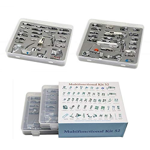 YEQIN Professional Domestic 52pcs Sewing Foot Sewing Machine Feet Presser Feet Set with Plastic Storage Box for Brother, Singer, Janome, Babylock,Toyota,New Home, and Kenmore Low Shank Sewing Machine