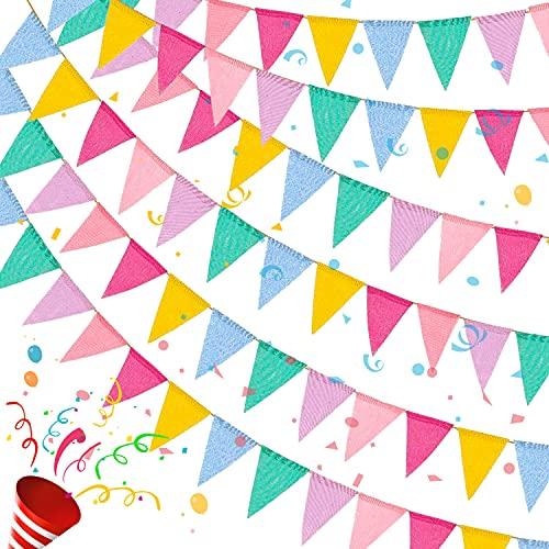 Bandierine Colorate 4 Stringhe,Bandiere Triangolari,Multicolore Bandierine 48 Pcs,Ghirlanda di Bandierine,Bandierine per Esterno,Banner Tessuto Bunting per Compleanno,Matrimonio,Feste(4 Metri/Stringa)