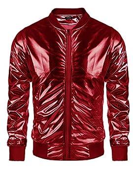 Coofandy Men s Metallic Christmas Varsity Jacket Button Zip-up Xmas Baseball Bomber,X-Large,Red