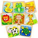 TOY Life 8 Pack Wooden Puzzles for Toddlers - Animal Shape Montessori Toy - Jigsaw Puzzles with 8 Animal Shape - Early Learning Preschool Educational Toys Gifts for 1 2 3 Years Old Toddlers