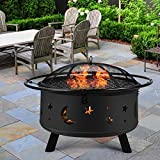 """Fire Pit 30"""" Fire Pits Outdoor Wood Burning Celestial Design Patio Steel Fire Bowl with Mesh Spark Screen Lid, Poker,Dustproof Cover,BBQ Grill Outdoor Heaters Bonfire for Beach Yard Camping Picnic"""