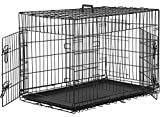 Dog Crate Kennel Pet Cage for Large Medium Dogs Travel Metal Double-Door Folding Indoor Outdoor Puppy Playpen with Divider and Handle Plastic Tray,48 42 36 30 24 inches (36' Dog Cage)