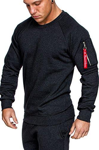 Amaci&Sons Herren Cargo Pullover Sweatshirt Hoodie Sweater Camouflage 4006 Anthrazit L