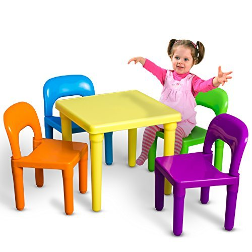 OxGord PLTC-01 Kids Plastic Table and Chairs Set (4 Chairs and 1 Table)