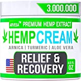 Instant Hemp Cream - Made in USA - Relieves Muscle, Foot, Shoulder, Joints and Back - Natural Hemp Oil Extract Gel with MSM - Glucosаminе - Arnica - Turmeric - 4oz