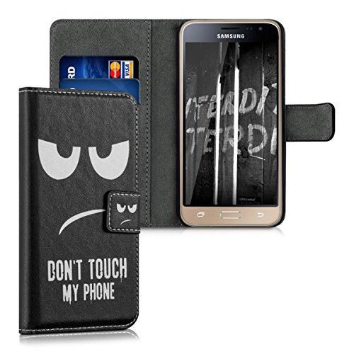 kwmobile Wallet Hülle kompatibel mit Samsung Galaxy J3 (2016) DUOS - Hülle Kunstleder mit Kartenfächern Stand Don't Touch My Phone Weiß Schwarz