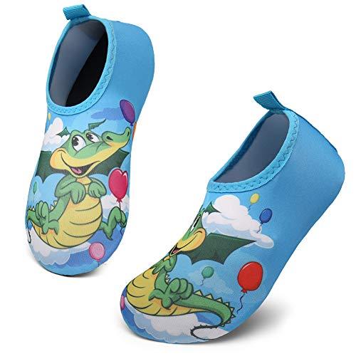 KUBUA Niños Niñas Zapatos de Agua Calcetines Zapatillas de Deporte Descalzos Aire Libre Snorkel Bucear Surf Mar Deportes Acuáticos Escarpines Piscina Playa Yoga Secado Rápido 26/27 EU