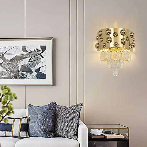 ZXJUAN hoofdverlichting creatieve persoonlijkheid luxe kristalglas wandlamp hotel huis interieur moderne woonkamer slaapkamer de gouden warm licht LED 34 * 37cm