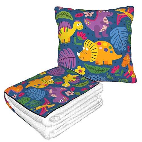 Suave manta de almohada 2 en 1 con diseño de dinosaurios (5) manta de forro polar para sofá o cama, almohada de oficina para mujeres y niñas