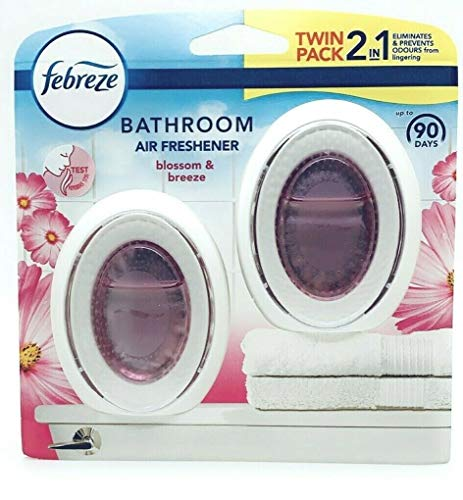 New Febreze 2in1 Bathroom / Small Spaces Air Freshener Blossom & Breeze 7.5 ml. Twin Pack