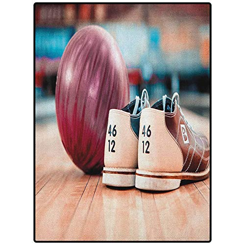 """Bowling Party Rectangle Rugs Best Long Carpet for Bedroom Floor Close Up Bowling Shoes with Purple Ball on an Alley Indoor Activity Hobby Multicolor 36"""" x 60"""""""