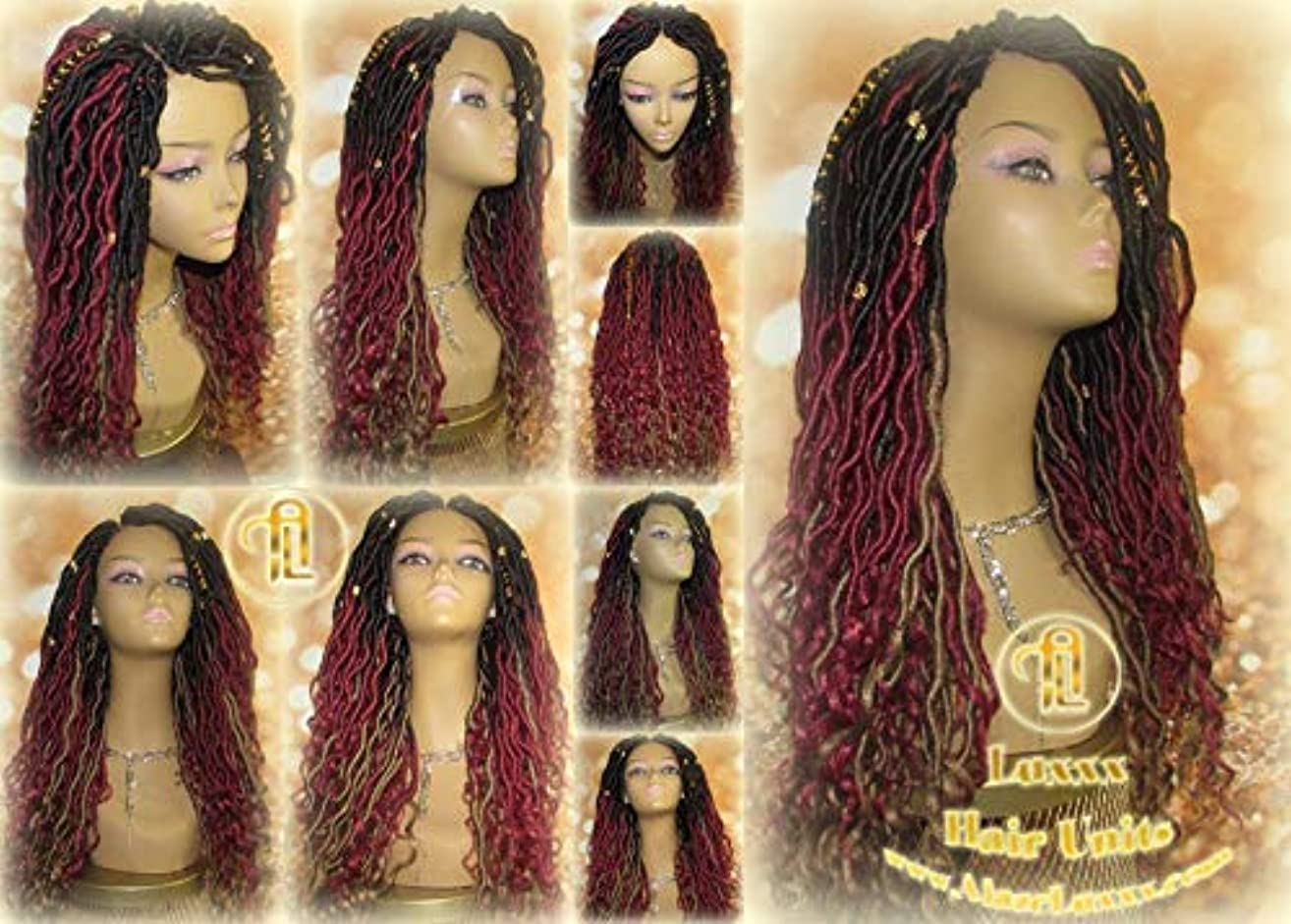 Dread Dred Loc Lock Wig Fire Goddess Red Burgundy Black530 Ombre 1b Blonde 27 Marley Goddess Crochet Synthetic Unit Hair Braided Wavy