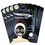 Korean Face Mask Sheet Charcoal Black Face Mask for Oily Skin and Pores 12 Pack