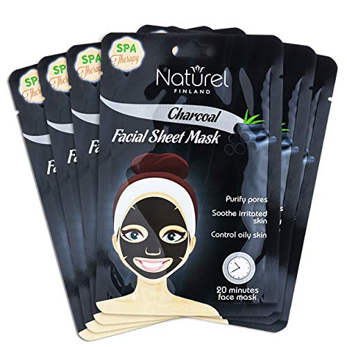 Korean Face Mask Sheet Charcoal Black Facial Mask for Oily Skin and Pores 6 pack